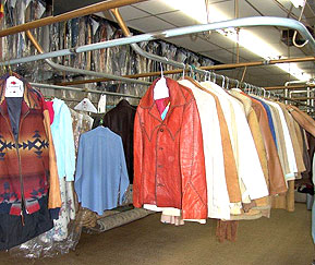 leather garments on a rack at LA Leather Cleaners